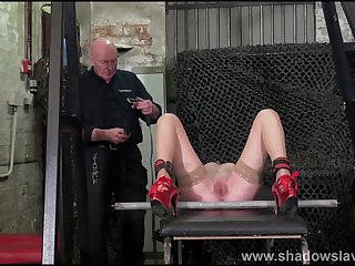 Imperturbable whipping of struggling amateur slave with regard to rough bdsm