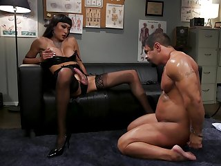 Dominant Asian shemale ass fucks man in dirty manners