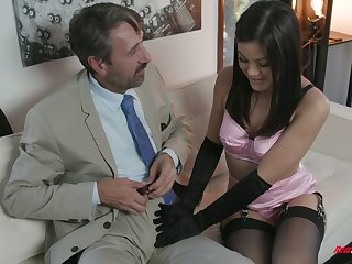 Low-spirited kept woman Kendra Spade gives a blowjob and gets her muff nailed