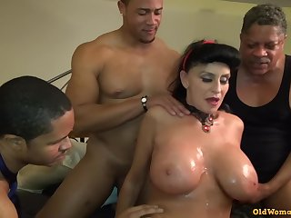 Old Mature Granny Goes Black-potty: Interracial gangbang with respect to busty GILF