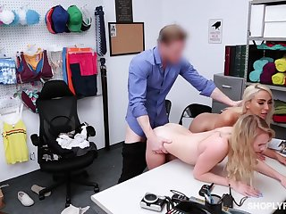 Security guy punishes shoplifting stepmom Kylie Kingston increased by her yummy stepdaughter
