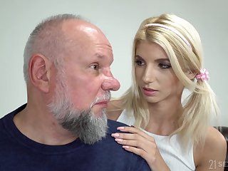 Cute cosset with pigtails Missy Luv is having crazy sex with old fart