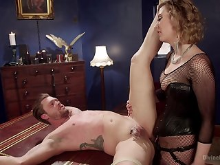 Foot fetish husband tortured and pegged near a strapon by his join in matrimony