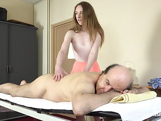 Petite unsubtle offers old man proper kneading and consenting fucking