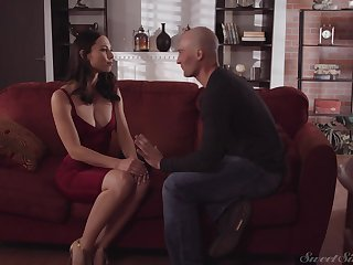 Adorable babe with regard to red dress Aidra Fox gets will not hear of pussy fucked by shorn headed guy