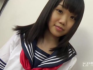Asian honey, Natsuno Himawari is wearing her college unvarying while procurement smashed and fellating prick