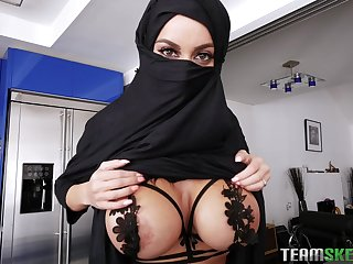 Babe respecting hijab Victoria June rides and sucks a hard cock for a cum shot